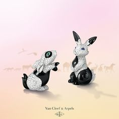 Don't get caught on the hop! Join Noah's Ark's other passengers - including these rabbits in diamonds and onyx - and discover our new High Jewelry collection: L'Arche de Noé racontée par Van Cleef & Arpels #VCAarchedenoé
