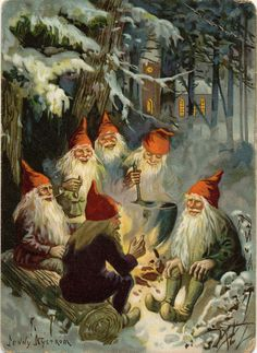 Art by Jenny Nyström  -  ( over 100 yr old image_  )   gnome oldtimers