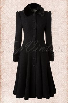 40s Annabelle Textured Princess Coat Black