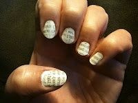 Simple Literary Nails!  -nail polish   -rubbing alcohol  -clear top coat  -newspaper