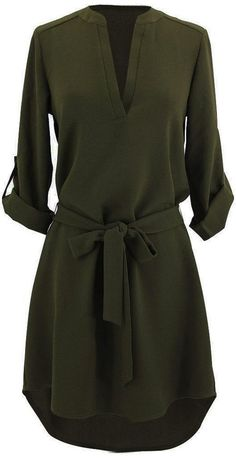 What would you do to get your hands on this olive tunic dress?Product Code: Details: Plunging neckline High low design With belt Tunic shirt dress Regu Look Fashion, Fashion Outfits, Womens Fashion, Dress Fashion, Hijab Fashion, Fashion News, Mode Style, Style Me, Classic Style