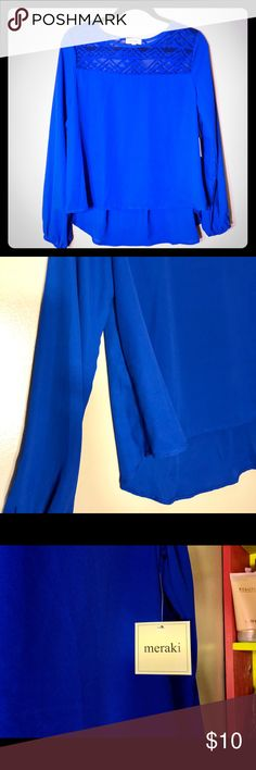 ✨Brand new! Royal blue blouse Brand new beautiful royal blue blouse. Perfect to wear with jeans or dress it up with some dress pants!  The back is a bit longer than the front but that's what makes it look cute. ::016 Tops Blouses