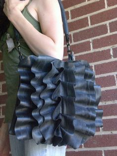 Eco Bicycle Tube Rubber Ruffle Bag