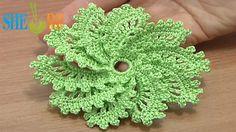 How to Crochet Spiral Flower 10 Petals Tutorial 54 Picot Trim (+playlist)