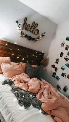 Cute teen bedroom hello lights pink photos on wall Teen Room Decor Ideas Bedroom cute Lights photos pink Teen wall Cute Teen Bedrooms, Teen Rooms, Bedroom Decor For Teen Girls, Cozy Teen Bedroom, Young Adult Bedroom, Teen Wall Decor, Tween Girls, Cute Teen Bedding, Teen Bedroom Decorations