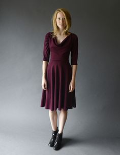 The Long Sleeve Circle Skirt Dress Fit N Flare Dress, Fit And Flare, Circle Skirt Dress, Cowl Neck, New Dress, What To Wear, That Look, Nyc, Bordeaux
