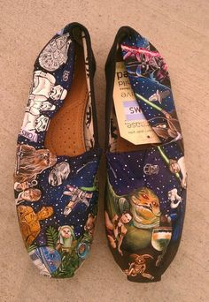 STAR WARS TOMS - New Shoes Included - Made to Order, but such incredible artwork.  $250.00