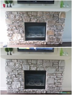 For the Family Room: Gray-Washed Fireplace Stone Using Annie Sloan Chalk Paint - Life On Virginia Street
