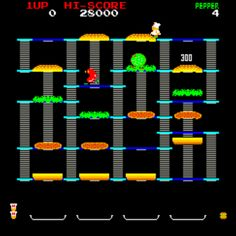 Burger Time, Arcade Video game by Data East 80s Video Games, Vintage Video Games, Vintage Games, Retro Games, Vintage Theme, Vintage Stuff, Vintage Toys, Nintendo, Playstation