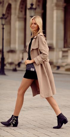 Jessica Stein is wearing a trench coat from Sportscraft, black blouse from Zara, matching shorts from Asos, ankle boots from Toga Pulla and a Boy bag from Chanel Look Fashion, Urban Fashion, Autumn Fashion, Womens Fashion, Fashion Tag, Dress Fashion, Fashion Boots, Toga Pulla, How To Wear Ankle Boots