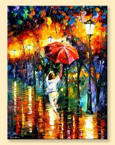 Red Umbrella — Limited Edition Woman Figure In The Landscape Park Print On…