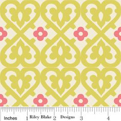Riley Blake Fabric by the yard - Indian Summer  Damask - Green C2612. $8.00, via Etsy.