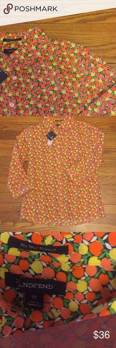 Lands End citrus fruit button up. So cute!! The lands end tag accidentally got cut. Lands' End Tops Button Down Shirts