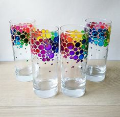 Rainbow drinking glasses set of 4 hand painted colored tumblers, water glasses set for family, custo Glass Painting Patterns, Glass Painting Designs, Paint Designs, Mosaic Designs, Glass Bottle Crafts, Bottle Art, Glass Bottles, Wine Bottles, Glass Vase