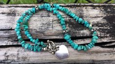 Vintage Turquoise Necklace with Sterling Silver by foreversquirrel