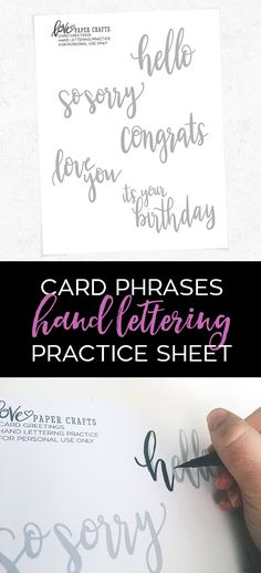 Card Sayings Hand Lettering Practice Sheet Card phrases free printable hand brush lettering practice sheet Brush Lettering Worksheet, Hand Lettering Practice, Calligraphy Practice, Hand Lettering Fonts, Doodle Lettering, Creative Lettering, Lettering Tutorial, Brush Lettering Quotes, Lettering Guide