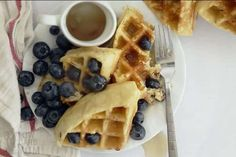 Simple keto low carb almond flour waffles for a delicious morning breakfast.