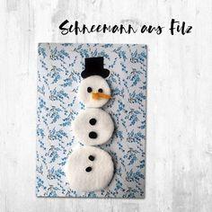 Schneemann aus Filz Karte Weihnachten DIY Basteln Kinder