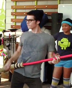 "Here's Dylan dancing on the set of ""The Internship"" again, now with 100% more Quidditch brooms:"
