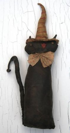 Extreme Primitive Folk Art  Black Cat Doll by AmeliasPrimitives, $29.99 ♥ the hat, tie and tail! :) g