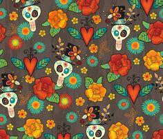 Dia de los Muertos fabric by jennartdesigns on Spoonflower - custom fabric