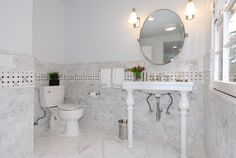 Hard to imagine.but this classically beautiful marble bathroom with a full shower was created from an empty attic space! The bathroom is . 1930s Bathroom, Bathroom Inspo, Bathrooms, Attic Spaces, Bath Design, My House, Home Goods, Marble, Shower