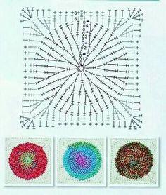 Granny Square patterns – Her Crochet – Granny Square Grannies Crochet, Plaid Crochet, Stitch Crochet, Crochet Quilt, Crochet Blocks, Crochet Motif, Granny Square Crochet Pattern, Crochet Diagram, Crochet Stitches Patterns