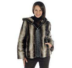 2e61e249d Regal Faux Furs Chinchilla Hooded Zip Front Jacket with Faux Leather Trim  Placket - GREY/BLACK