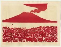 Volcano, 1967 by Kunio Isa (1931 - ) -- Japanese woodblock print