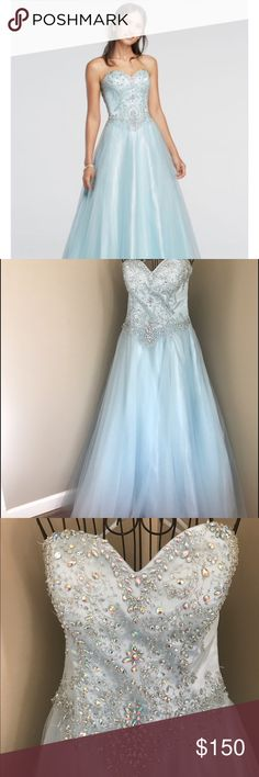 Cecily Brown from David's Bridal Beautiful light blue gown with adjustable sized medium bodice. Back of gown has laced up beautiful closure allowing for perfect fit. This is a true Cinderella gown. Cecily Brown Dresses Prom