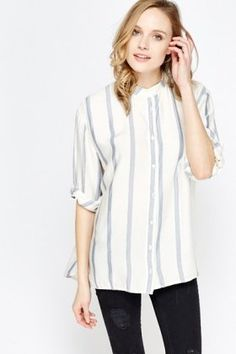 Contrast Striped Print Shirt