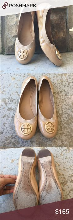 ✨Tory Burch Nude Flats✨ Fashionable authentic Tory Burch Flats in size 9 (US Womens). These are a tan/nude color with the logo in same color and gold border! These match with everything! Used, but great condition as shown! Small spot on left shoe on fabric part! Very small, and I'm sure it would come off. Super soft and comfortable! Leather lining, manmade sole. Check out my other Tory Burch Flats! Bundle and save, thanks for looking❤️❤️❤️ Tory Burch Shoes Flats & Loafers