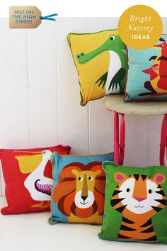 Children's Animal Cushion by Posh Totty Designs Interiors, the perfect gift for Explore more unique gifts in our curated marketplace. Boy Toddler Bedroom, Boy Room, Kids Bedroom, Animal Bedroom, Animal Nursery, Childrens Cushions, Bright Nursery, Bedroom Themes, Bedroom Ideas