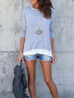 Shop Tops & Tees - Gray Casual Slit T-Shirt online. Discover unique designers fashion at PopJuLia.com.