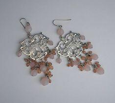 Vintage pierced earrings long silver and pink handmade 1990s