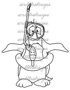 $3.00 Brrr-ubbles Digital Stamp  (http://buyscribblesdesigns.blogspot.ca/2013/03/211-brrr-ubbles-300.html) digital stamps, digis, scribbles designs, penguin, snorkel
