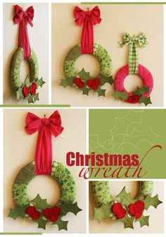 J054 Christmas wreath - fabric wrapped foam wreath, add felt holly.  Nice!