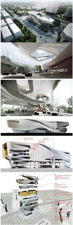 Dalian Museum by 10 design Conceptual Architecture, Parametric Architecture, Parametric Design, Architecture Visualization, Space Architecture, Futuristic Architecture, Amazing Architecture, Modern Buildings, Plan Design