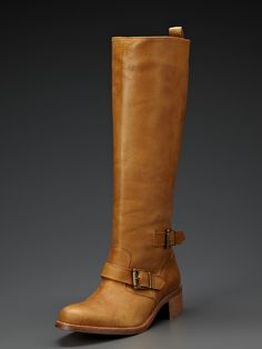 Camel colored leather riding boots - perfect color.