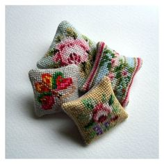 Open House Miniatures - 12th scale needlework cushions. Free PDF download