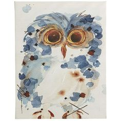 OMG - this is so charming I just might have to nab it & I have just the spot for it....Baby Owl Art - Blue