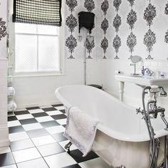 Art Deco-style monochrome bathroom - I love Art Deco style. Gray And White Bathroom, Silver Bathroom, Black And White Tiles, White Art, Bad Inspiration, Bathroom Inspiration, Bathroom Wall Coverings, Art Deco Bathroom, Bathroom Ideas