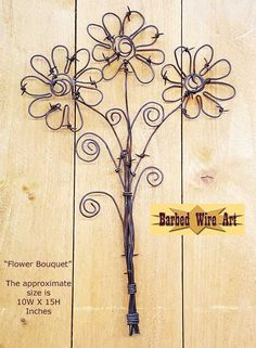 Flower Bouquet - Handmade metal decor barbed wire art country western wall sculpture