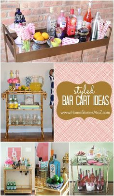 The secret to the Holidays is a well-stocked bar! Get tips and tricks for creating your own ultimate home bar for the holidays, from Indeed Decor. Diy Bar Cart, Gold Bar Cart, Bar Cart Styling, Bar Cart Decor, Bar Carts, Office Desk Organization, Up House, The Design Files, Bar Furniture