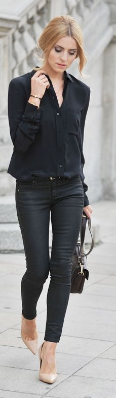 Chic In The City- Zara Black Women's Classic Button Up by Make Life Easier ~ 50 Great Fall Outfits On The Street - Style Estate -