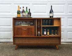 Vintage Telefunken Hymnus stereo cabinet repurposed into a bar/liquor cabinet | Germany