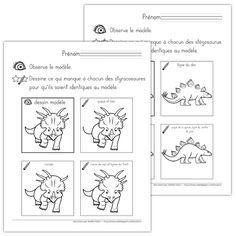 Fichier PDF téléchargeable En noir et blanc seulement 2 pages  L'élève doit compléter les 3 dessins pour qu'ils soient identiques au modèle. Cet exercice permet le développement de la motricité fine (en s'exerçant à dessiner des cercles, des rectangles, des courbes, etc.) et développe le sens de l'observation chez l'enfant.