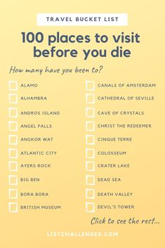 The Travel List Challenges 100 Places to Visit Before You Die -You can find Challenges and more on our website.The Travel List Challenges 100 Places to Visit Before You Die - Travel Checklist, Travel List, Travel Goals, Travel Info, Travel Mugs, Travel Bucket Lists, Travel Cake, Coffee Travel, Travel Advice