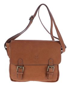 This looks sturdy & functional & it's leather! Wheeeee!!!!!! ====Look at this #zulilyfind! Camel Leather Buckle Crossbody Bag #zulilyfinds
