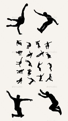 Parkour - Tricking - Sport Silhouettes by martinussumbaji Parkour Tricking Sport Silhouettes, art vector design. Ai CS, JPEG and EPS.